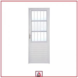 AE-606 Porta giro abrir com postigo e grade alumínio branco