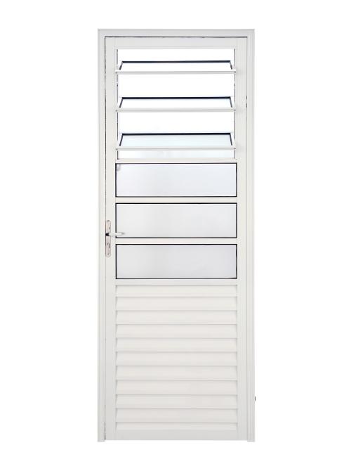 AE-603 Porta giro abrir mista com basculante alumínio branco